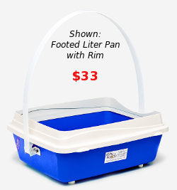 Footed litter pan with rim